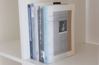 <em>(Bl)Aaahhh</em>, 2014<br> marker and crayon on b/w laser prints on 7 books, dividers<br>10 × 21.8 × 15.8 cm/3.9 × 8.6 × 6.2 inches