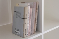 <em>Bwwaaagh</em>, 2014<br>marker and crayon on b/w laser prints on 7 books, dividers<br>14.6 × 21.4 × 14 cm/5.7 × 8.4 × 5.5 inches